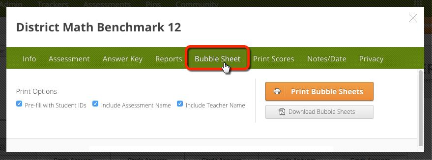 Assessment Dialog Bubble Sheet Tab