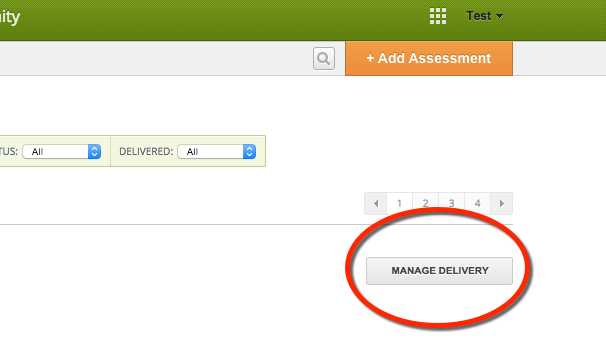 Manage delivery button