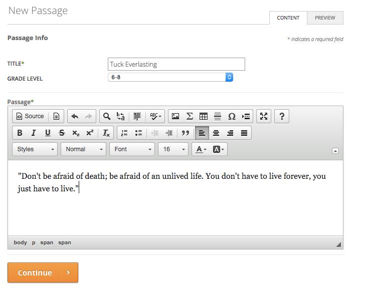 New Passage Dialog