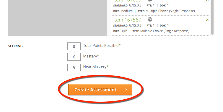 Create Assessment Button TE21
