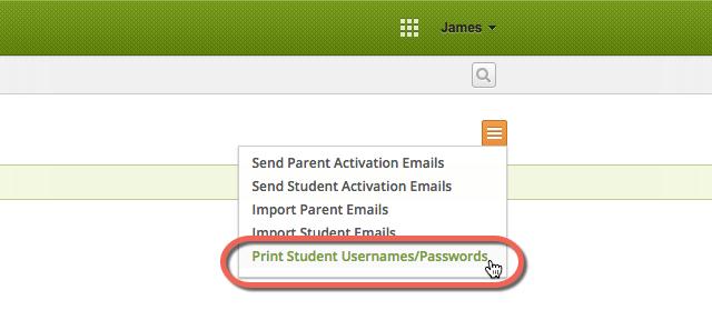 Print Student Usernames Passwords