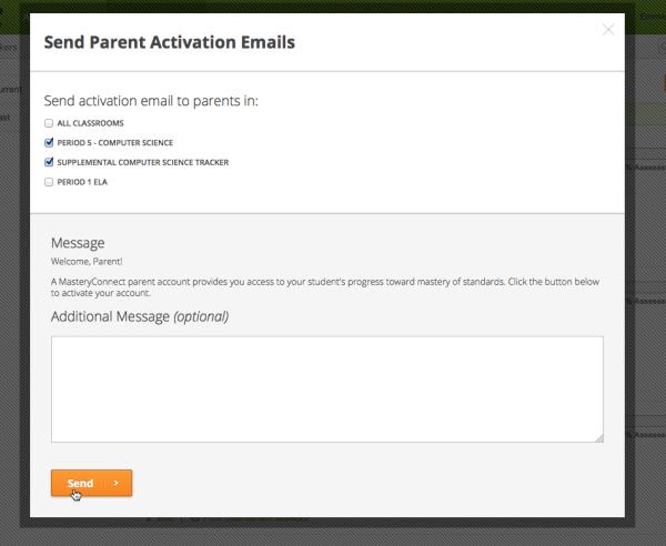 Send Parent Activation Emails Modal
