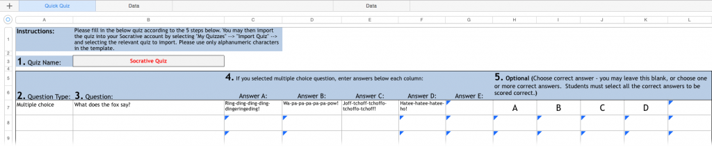 question and answer template word